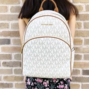 Michael Kors Abbey Large Backpack Vanilla MK Acorn Boutique